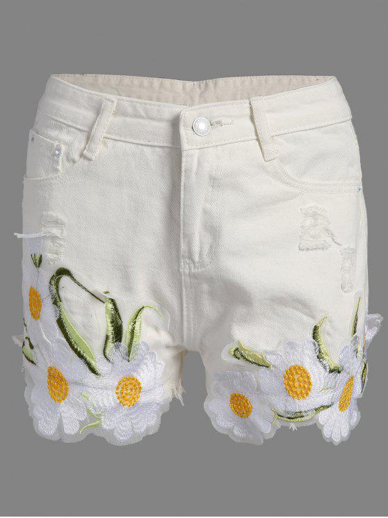 trendy Frayed Embroidered Floral Denim Shorts - WHITE M