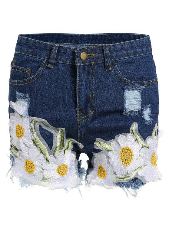 womens Frayed Embroidered Floral Denim Shorts - DEEP BLUE L