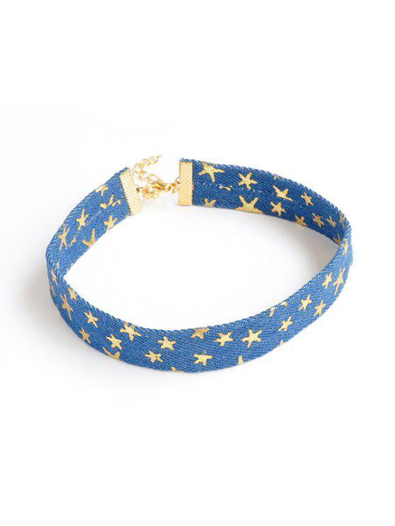 الدنيم نجوم الجدة المختنق قلادة - أزرق