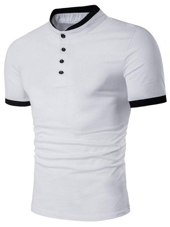 Stand Collar Panel Design Short Sleeve Henley Shirt White