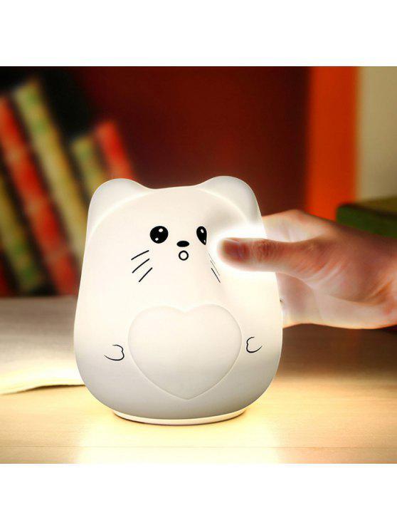 اللون تغيير الكرتون القط سيليكون الصمام ضوء الليل - أبيض