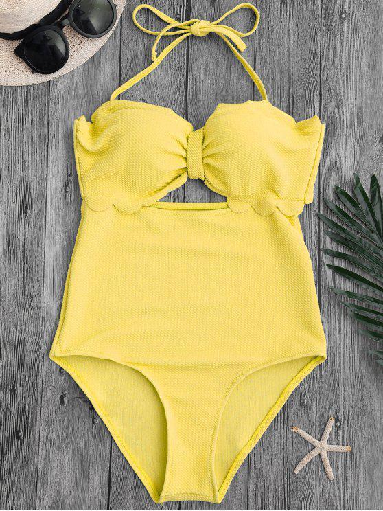 women's Cut Out High Leg Scalloped Swimwear - YELLOW L