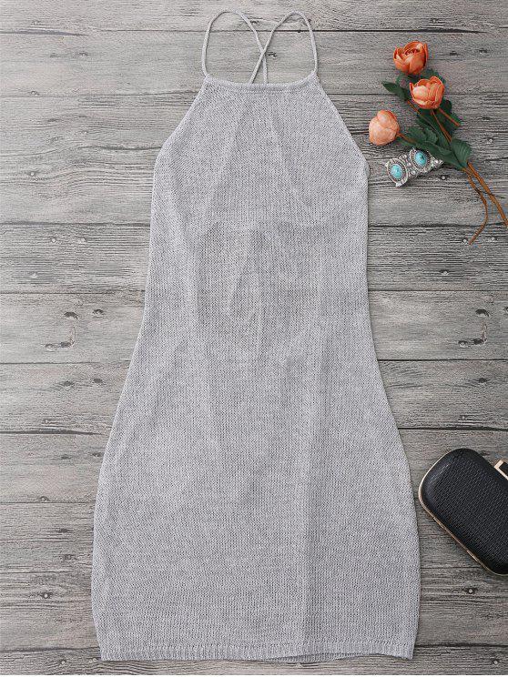 Robe Couverture de Plage à Lanières à Col Roulé - Gris Argent Taille Unique