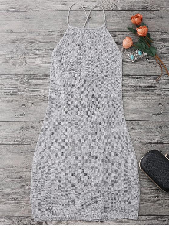 Vestido Envuelto de Playa con Cuello de Delantal con Cordón - Gris de Plata Única Talla