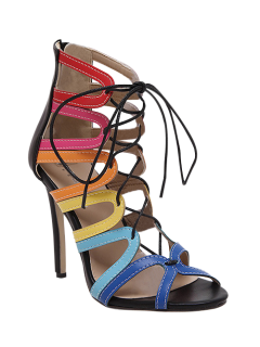 Hollow Out Color Block Lace-Up Sandals - Black 38