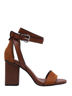 Chunky Heel Suede Ankle Strap Sandals - Brown 35