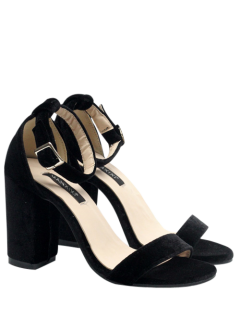 Block Heel Velvet Ankle Strap Sandals - Black 37