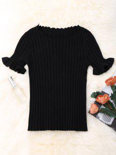 Knitted Ribbed Top - Black