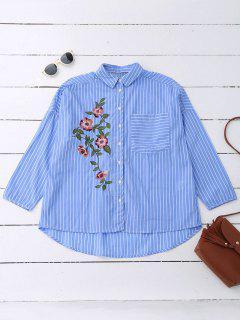 Oversized Striped Floral Embroidered Pocket Shirt - Azure L