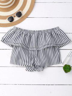 Off Shoulder Ruffle Knot Hem Crop Top - Black Stripe L