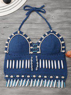 Top En Bikini En Crochet Avec Coquille En Perles - Bleu Glacé