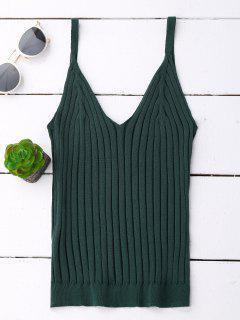 Camiseta Con Cuello De Punto Con Cuello En V - Verde Negruzco