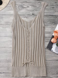 Ribbed Lace Up Tank Top - Apricot
