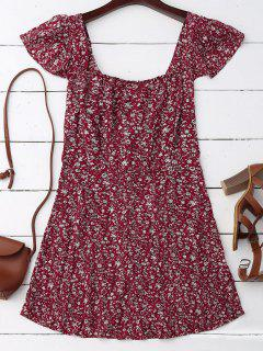 Cap Sleeve Tie Back Tiny Floral Dress - Deep Red S