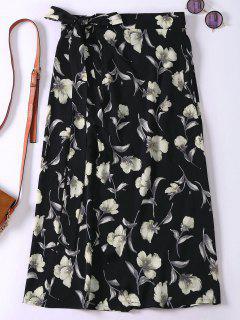 Floral High Slit Wrap Holiday Skirt - Black
