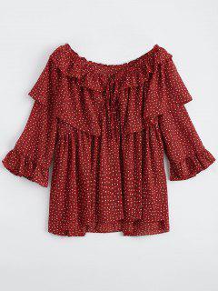 Blusa De Gasa De Impresión De Volantes De Gran Tamaño - Rojo M