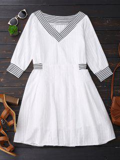 V Neck Linen Dress With Stripes - White L