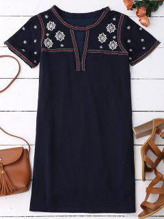 Embroidered Shift Ethnic Dress - Black Blue L