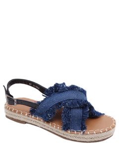 Espadrilles Buckle Strap Denim Sandals - Blue 38