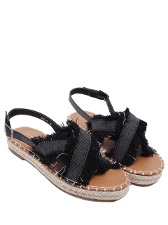 Espadrilles Buckle Strap Denim Sandals - Black 38