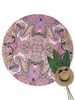 Lightweight Paisley Print Beach Throw - Purple