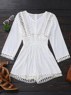 Long Sleeve Hollow Out V Neck Romper - White Xl
