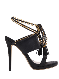 Chains Lace Up Tassels Sandals - Black 38