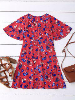 Floral Split Back Dress - Red M