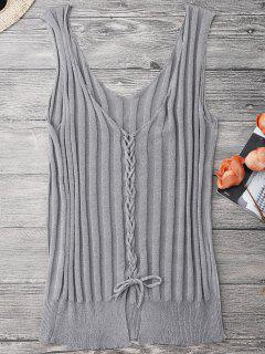 Ribbed Lace Up Tank Top - Gray