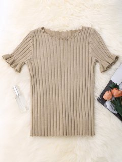 Knitted Ribbed Top - Apricot