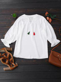 Oversized Tassel Tie Neck Chiffon Blouse - White L