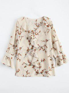Ruffle Floral Flare Sleeve Blouse - Light Apricot M