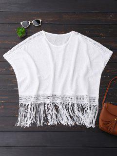 Oversized Fringed Top - White