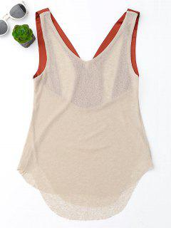 Satin Straps Crossover Tank Top - Apricot S
