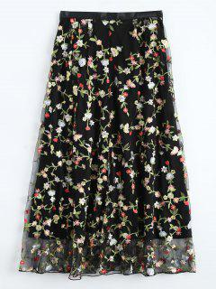 Floral Embroidered Tulle Skirt - Black L