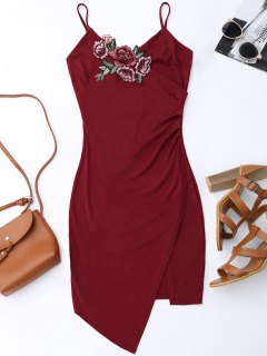 Floral Patched Asymmetrical Surplice Dress - Wine Red M