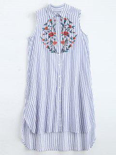 Sleeveless Floral Embroidered Striped Shirt Dress - Blue Stripe L