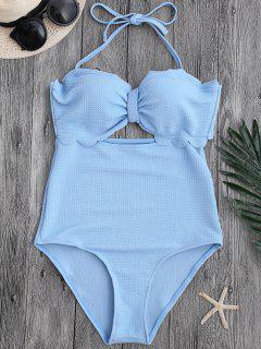 Cut Out High Leg Scalloped Swimwear - Light Blue L