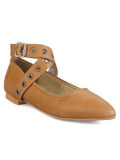 Eyelets Faux Leather Flat Shoes - Brown 38
