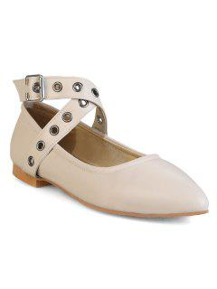 Eyelets Faux Leather Flat Shoes - Apricot 39