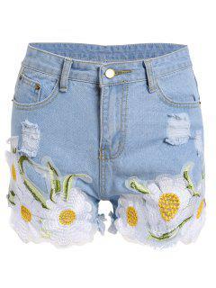 Frayed Embroidered Floral Denim Shorts - Light Blue Xl