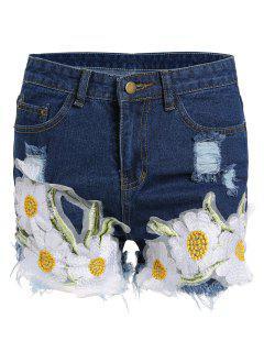 Frayed Embroidered Floral Denim Shorts - Deep Blue L