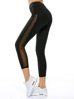 High Waisted Sheer Mesh Insert Capri Leggings - Black M