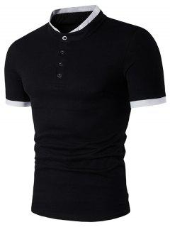 Stand Collar Panel Design Short Sleeve Henley Shirt - Black L