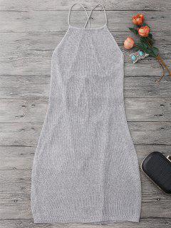 Vestido Envuelto De Playa Con Cuello De Delantal Con Cordón - Gris De Plata