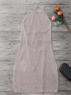 Vestido Envuelto De Playa Con Cuello De Delantal Con Cordón - Púrpura Rosácea