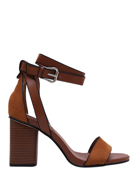 lady Chunky Heel Suede Ankle Strap Sandals - BROWN 34 Mobile