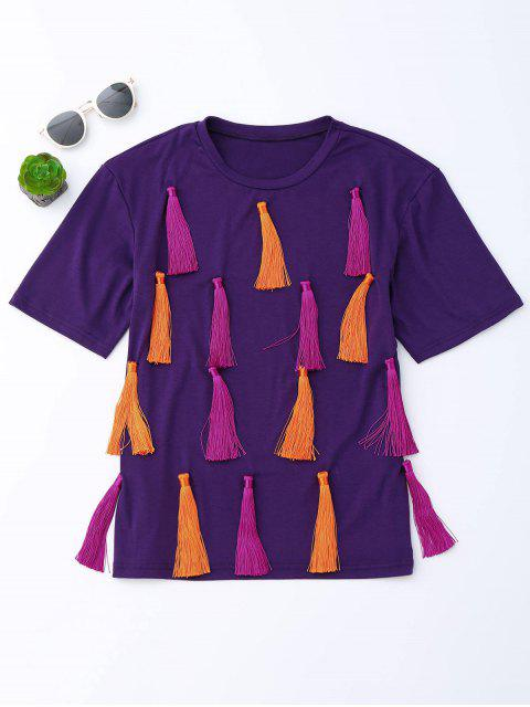 hot Tassel Short Sleeve T-Shirt - PURPLE M Mobile