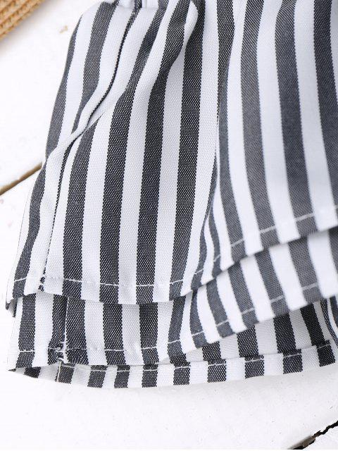 Haut court épaules dénudées à volants avec nœud - Noir Bande S Mobile