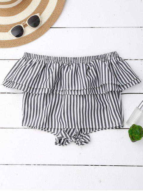 best Off Shoulder Ruffle Knot Hem Crop Top - BLACK STRIPE S Mobile